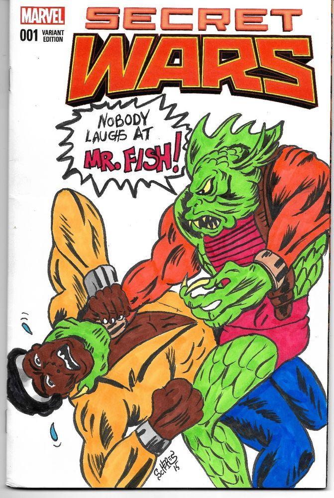 LUKE CAGE POWER MAN SECRET WARS MARVEL MR. FISH COMIC BOOK SKETCH COVER SCHERES