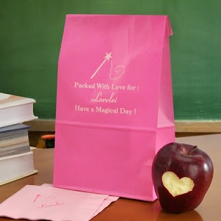 raspberry personalized lunch bag with child's name and motivational message in a fairy tale theme