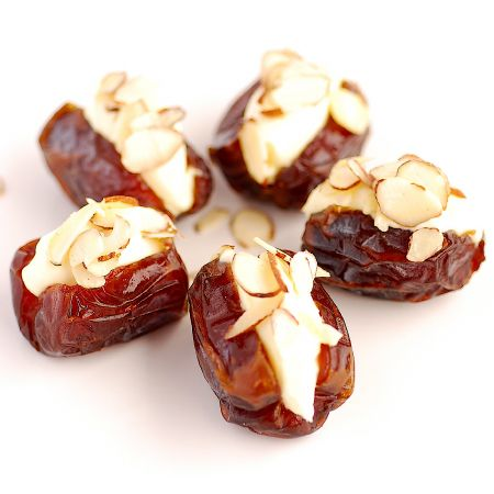 Medjool Dates stuffed with Orange Blossom Mascapone & Almonds