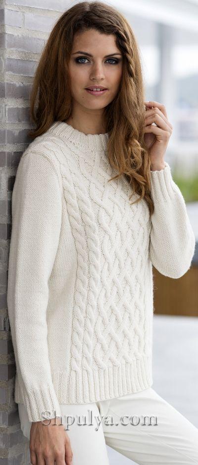 Вязаный женский пуловер с аранами