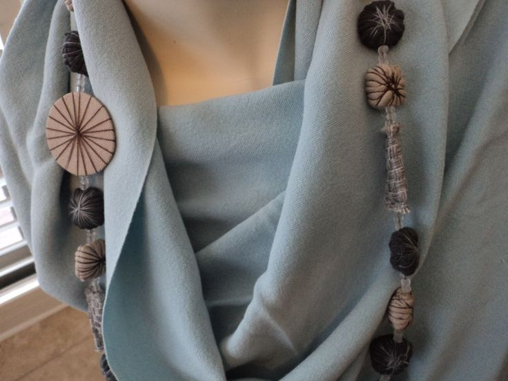 Recycled Eco necklace on a 100% Bamboo handwoven shawl. www.annmack.co.za All made in South Africa