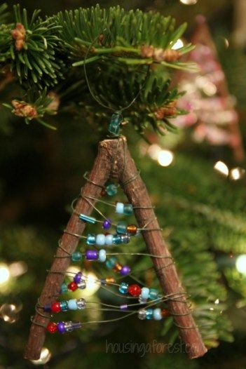 Beaded Twig Christmas Ornaments - Housing A Forest || 10 Homemade Christmas Ornaments for Kids: Inspired by Nature!