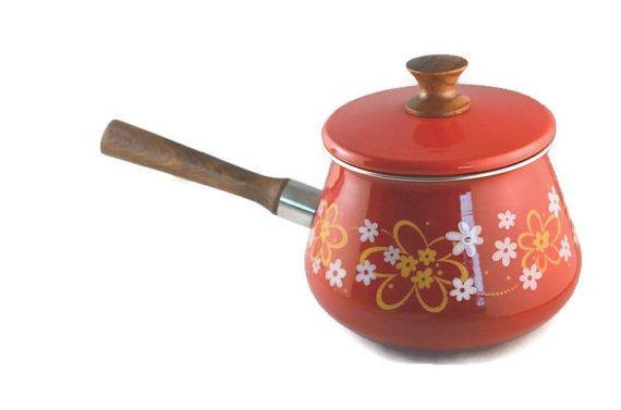 Vintage 1970s Red Floral Enamel Pot Small Yellow by FarahsAttic, $13.00