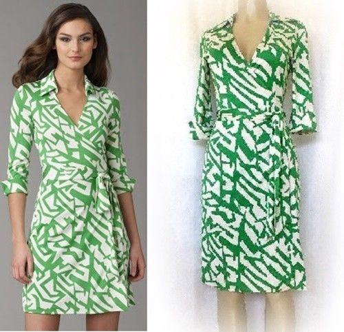 Vintage Dvf Diane Von Furstenberg Justin Wrap Dress Green