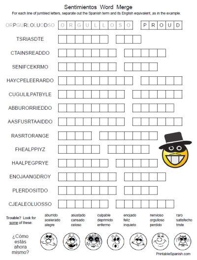 Printable Spanish FREEBIE of the Day: Sentimientos Word Merge puzzle worksheet from PrintableSpanish.com