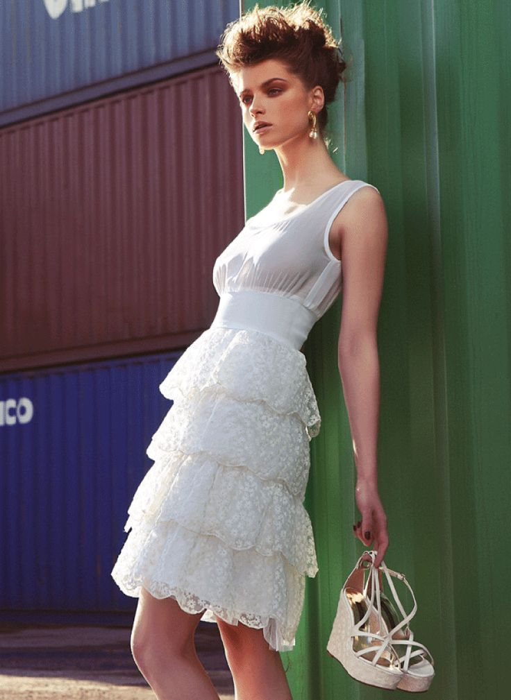 New Collection Spring/ Summer 2014 Amarisso New York organza layers with small flowers in cotton. See thru georgette top. Platform bridal wedges in organza with small flowers and pearl leather.