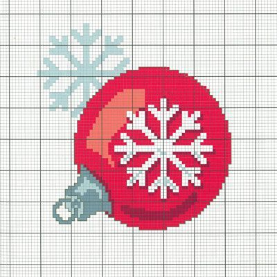"""Téléchargez votre diagramme DMC gratuit """"boule de Noël"""" en cliquant sur l'image"""
