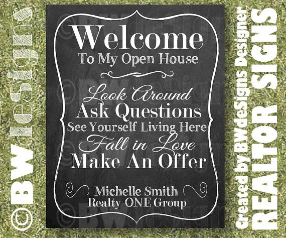 REALTOR Open House Sign Set Real Estate Signs by BlackWhiteDeSigns