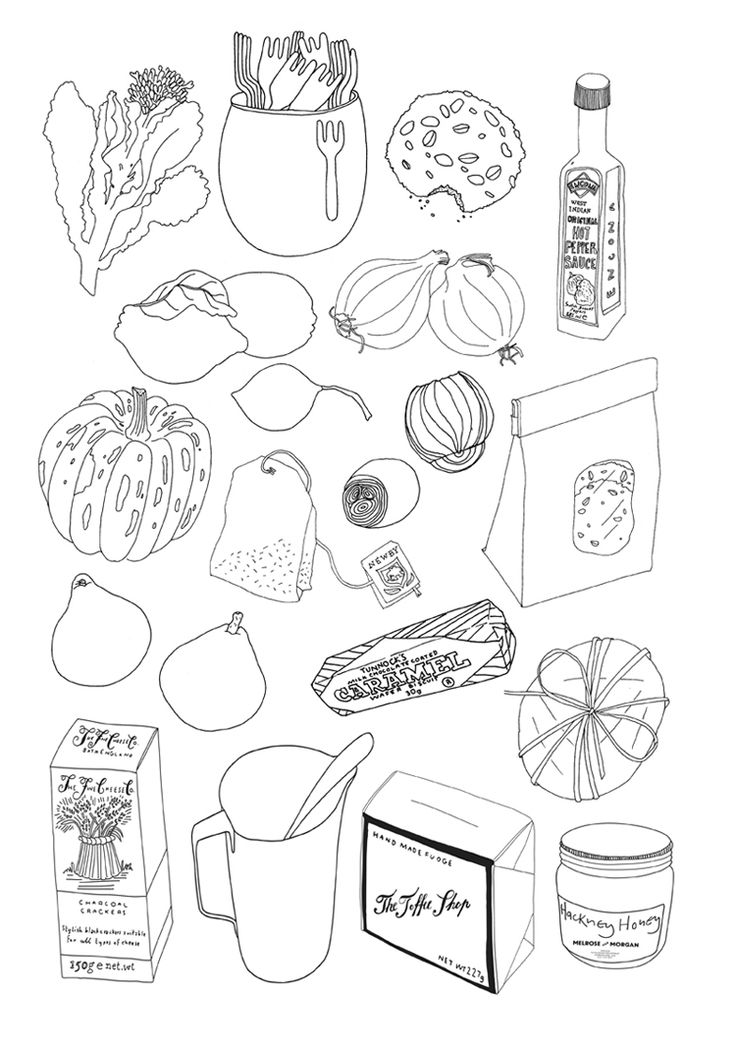 Food drawings    Drawings for the windows of grocers, Melrose and Morgan.
