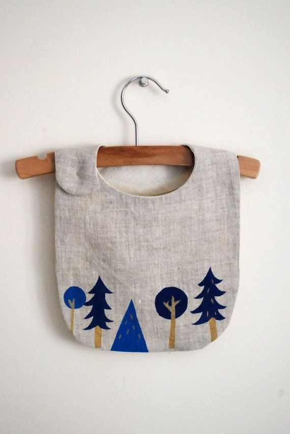 Navy Forest bib / blue and gold tree print