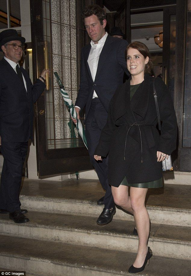 The youngest daughter of Prince Andrew and Sarah Ferguson wore a forest-green leather dres...