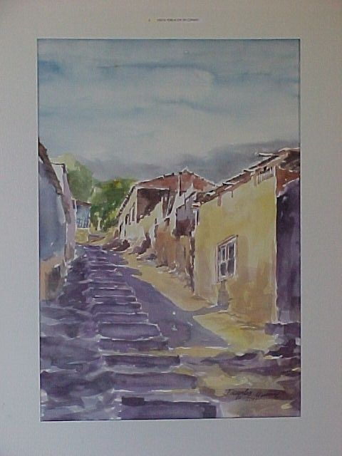 Vista de calle Borgoño, Copiapó, Chile, 1990. Del pintor copiapino Juan Carlos Aguirre Carrasco.