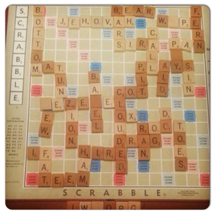 Family worship night with a bible themed Scrabble game (using the JW Library app to verify the theocratic words). @bekwelds