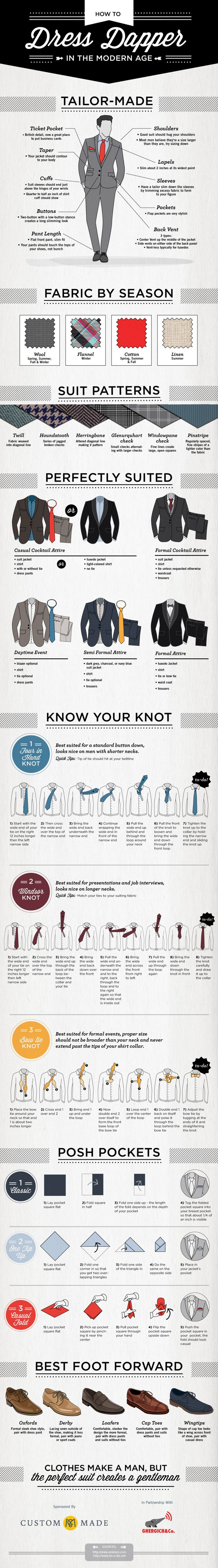 """While women's styles vary greatly between seasons, a man in a suit is usually the epitome of style, unless that suit is too big, too small, or too outdated. www.custommade.com has created an infographic entitled """"How to Dress Dapper in the Modern Age"""", giving you a crash course in staying stylish in your suits."""