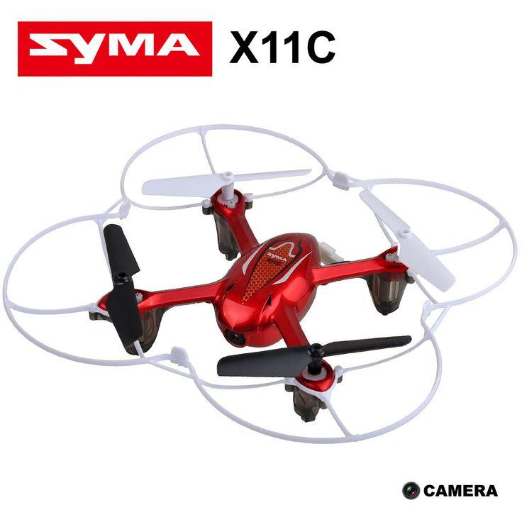 Syma X11C drone met camera - rood.  Een drone die niet alleen vooruit, maar ook omlaag en zijwaarts kan vliegen of 3-D stunts kan uitvoeren, maar die ook nog eens voorzien is van een camera om dit ook allemaal vast te leggen. Door de kleine afmeting van ca. 15 x 15 cm is deze drone ook in huis te gebruiken. De drone is voorzien van een oplaadbare batterij die door middel van een USB-kabel wordt opgeladen. De afstandsbediening werkt met 4 AA-batterijen (optioneel).