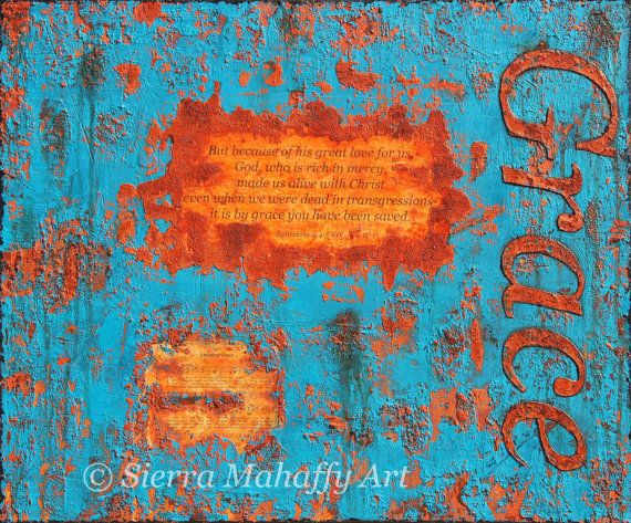 Amazing Grace, grace, Christian canvas painting, christian wall decor, Original Abstract Art, turquoise, rust, scripture art, mixed media