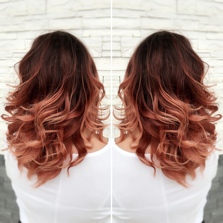 Red ombré rose gold ombré red to rose gold ombré medium ...