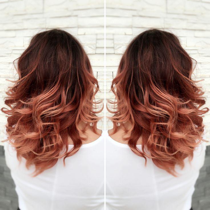 Red ombré rose gold ombré  red to rose gold ombré medium length hair done beauty brands bbinspire by: @lynn.styless
