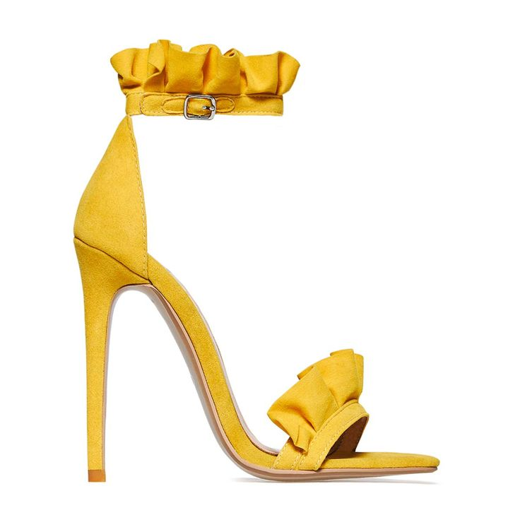 Florence Frill Detail Heel In Yellow Faux Suede. Available in (39) | want