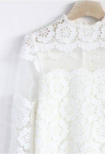 Flower Dance Mesh Crochet White Top - Hang Me Up...
