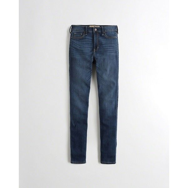Hollister Stretch High-Rise Super Skinny Jeans (€21) via Polyvore featuring jeans, dark wash, dark wash skinny jeans, dark wash jeans, embroidered skinny jeans, high-waisted jeans en stretchy skinny jeans