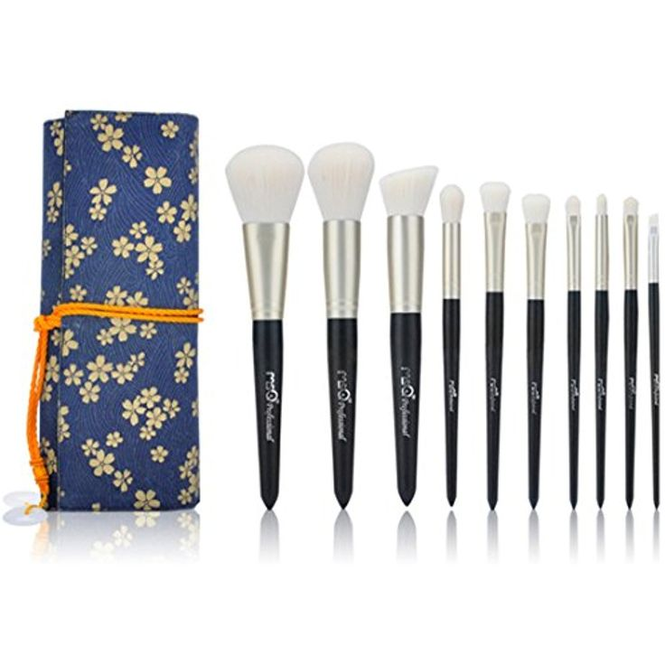 MSQ 10pcs Makeup Brushes Set Powder Foundation Eyeshadow Make Up Brush Cosmetics Kit Soft Synthetic Hair With Canvas Case (Bell Flower Edition) -- Click on the image for additional details. (This is an affiliate link and I receive a commission for the sales)