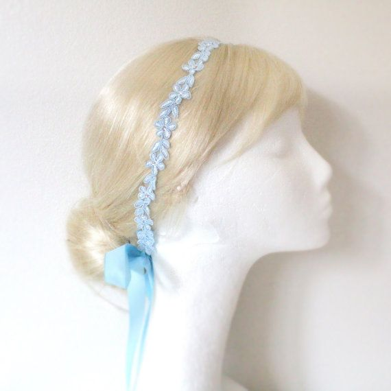 in navy blue for harleigh  Skinny Light Blue Color Flower Lace Satin Ribbon by lovelikestyle