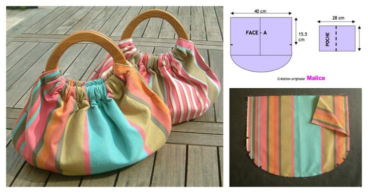 DIY of making your own gorgeous wooden handle bag. It could be used for a variety of purposes, such as a carryall for small items or as a summer bag.