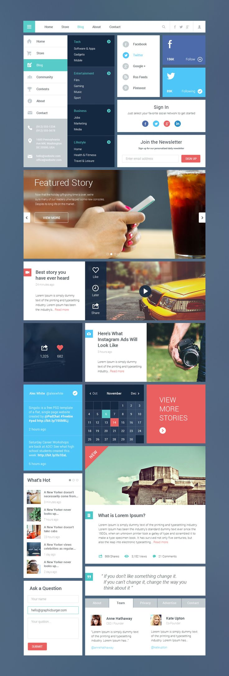 Free Blog/Magazine Flat UI Kit 2 | #webdesign #flatui #uikit