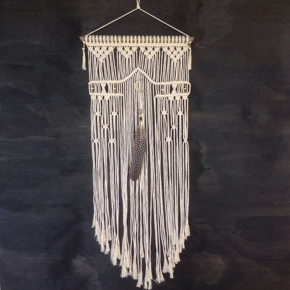 Handmade macrame wall hanging; boho decor wall art; 34cm x 70cm made-to-order