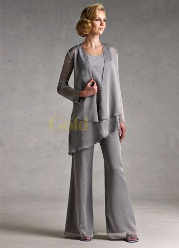 [US$180.99] Classic Silver Gray Chiffon Mother Of The Bride Pant Suits