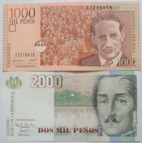 Pareja De Billetes De 1000 Y 2000 Pesos Grandes (Colombia) a COP 25000  en  PrecioLandia Colombia (6q22cd)