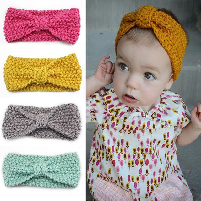 Nó Cabeça Headband do Bebê do Inverno Da Menina Crochet Newborn envoltório Warmer Malha Arco Hairband Faixa de Cabelo Arco de Cabelo Acessórios de 10 cores