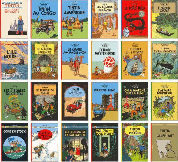 The Adventures of Tintin    (Les aventures de Tintin )    24 albums (1929 to 1986, posthumously)