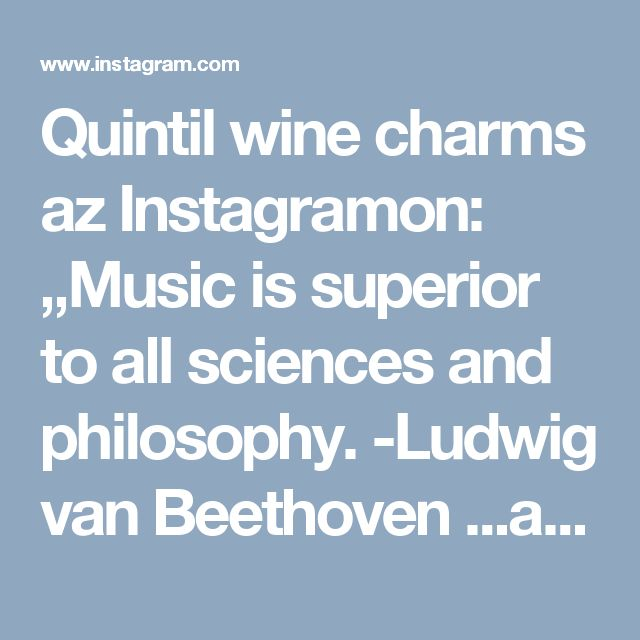 "Quintil wine charms az Instagramon: ""Music is superior to all sciences and philosophy. -Ludwig van Beethoven ...and if it meets the philosophy of wine... that is almost a…"" • Instagram"