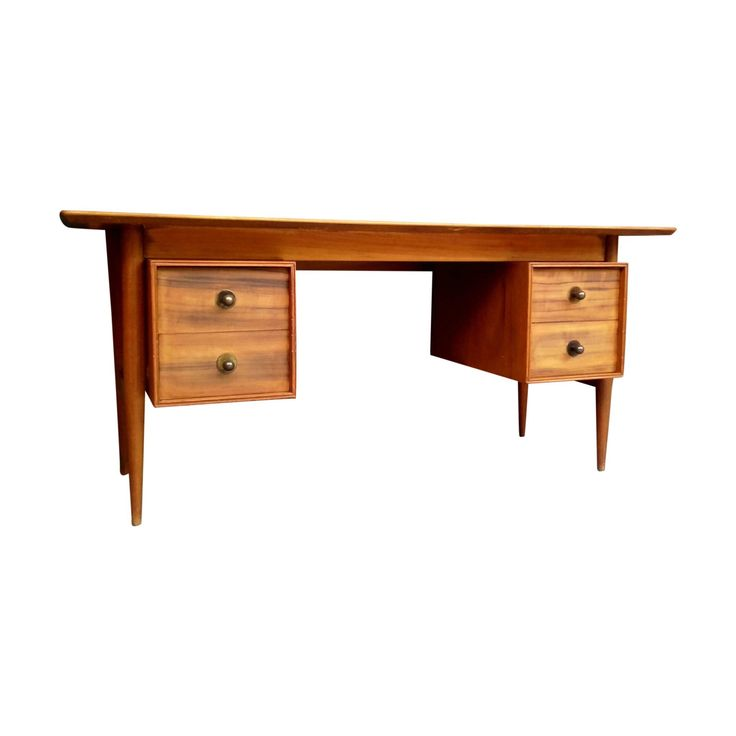 Mid Century Danish Style Desk with Walnut Floating Top and Four Drawers