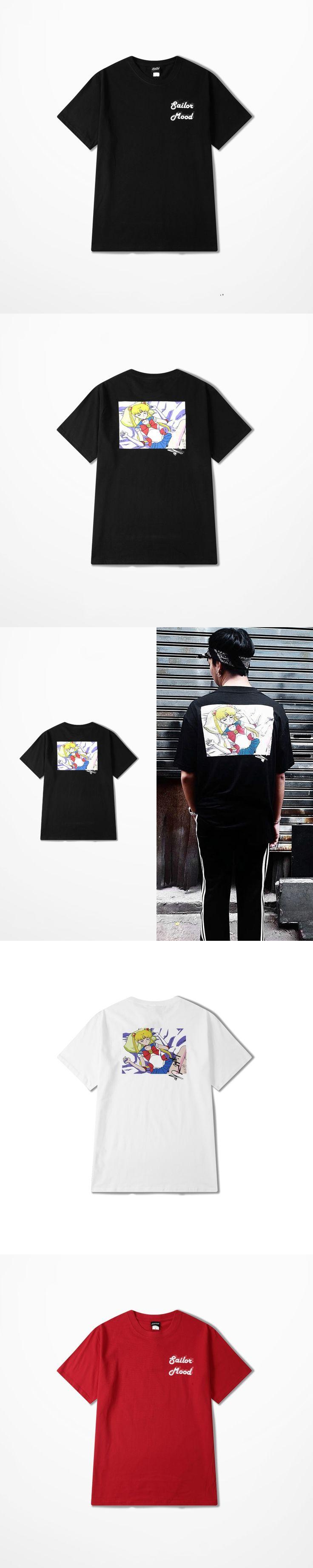 Ulzzang 2017 Summer New Fashion Popular Cartoon Sailor Moon Print  T-shirts Man And Women Lovers Couple Cotton Medusa T Shirt