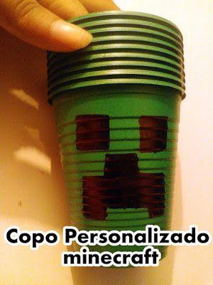 July artesanatos: copo personalizado - minecraft