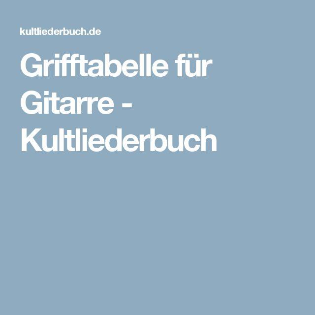 Grifftabelle für Gitarre - Kultliederbuch