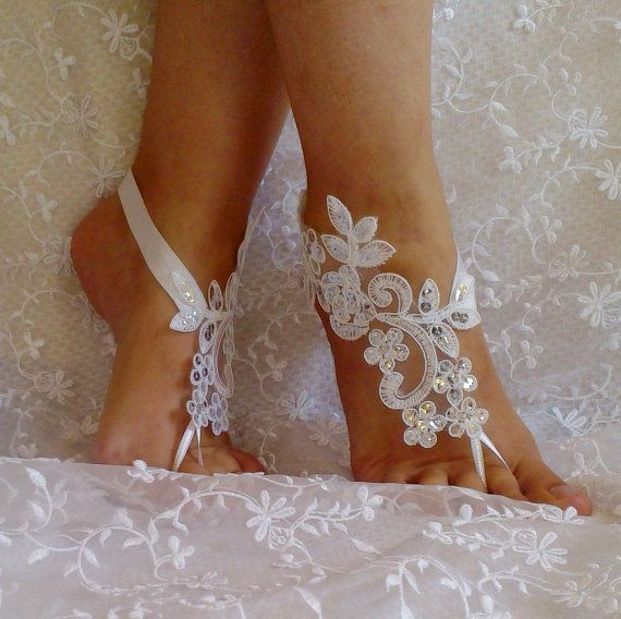 Free Ship lace sandals white or ivory lace anklet by SummerFeetS