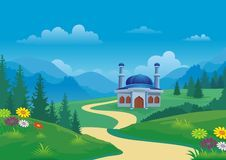 Mosque and beautiful natural scenery with cartoon style Royalty Free Stock Image