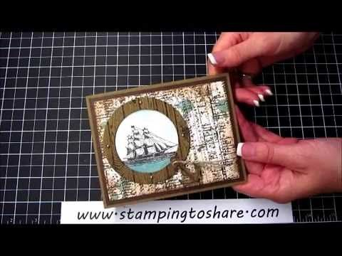The Open Sea Through a Porthole with a How To Video, Kay Kalthoff is Stamping to Share with Stampin' Up! Gorgeous Grunge, Hardwood