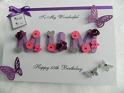 Personalised Handmade Mothers Day/Mum Birthday Card 40 th 50 th 60th with BOX BM | Cards & Stationery | Celebrations & Occasions - Zeppy.io