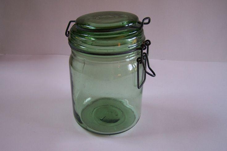 Bocal en verre pot en verre DURFOR gravé vintage  1 litre Made in France de la boutique MyFrenchIdeedAntique sur Etsy