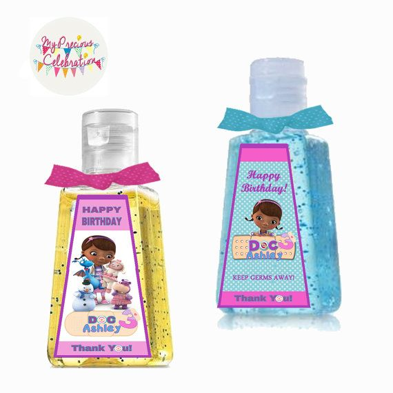 DIGITAL DOC MCSTUFFINS Personalized 1 oz. Hand Sanitizer Label Favors -doc birthdays - party favors