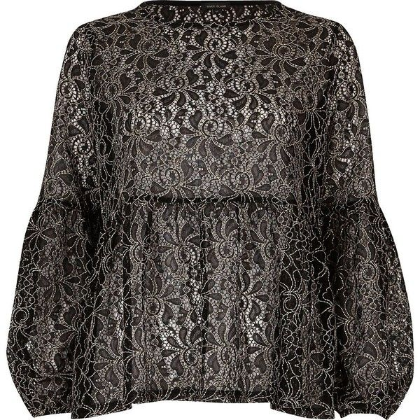 River Island Black and white lace tiered smock top ($72) ❤ liked on Polyvore featuring tops, black, blouses, women, lacy tops, black white top, tier top, loose long sleeve tops and crew neck tops