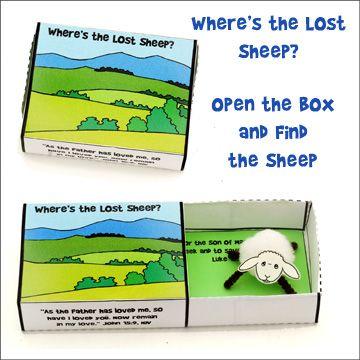 la oveja perdida, hecha en caja de cerillo