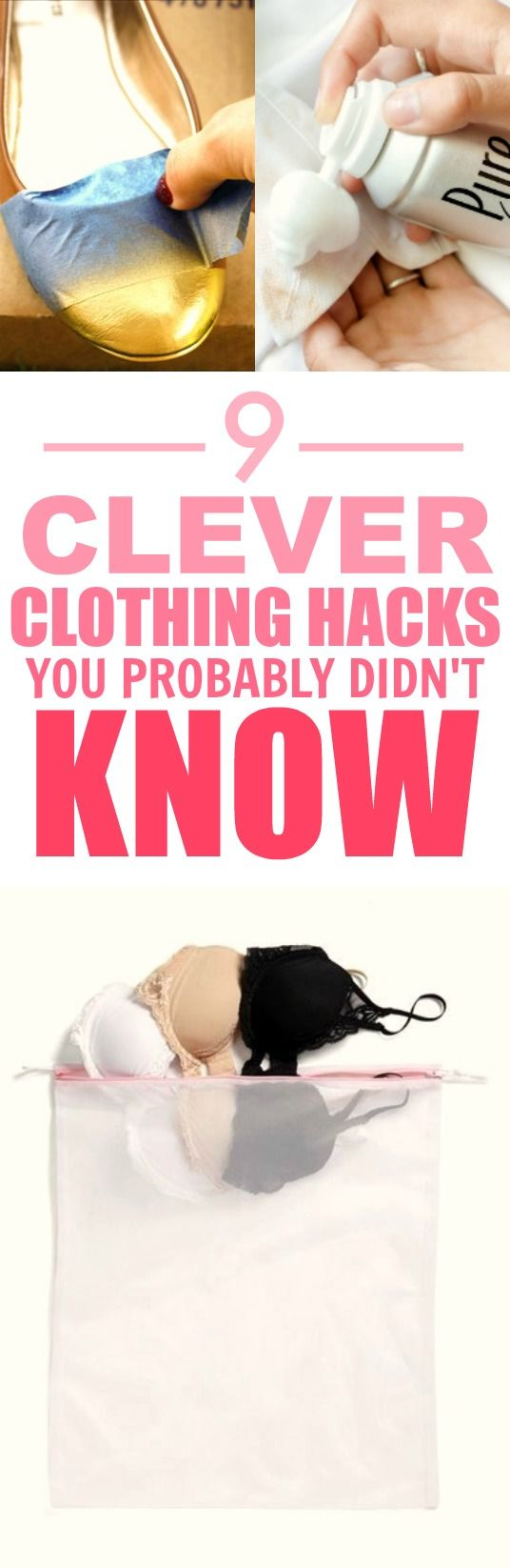 These 9 clothing hacks and tips are THE BEST! I'm so happy I found this GREAT post! Now I can save money and keep my favorite outfits! I'm SO pinning for later!