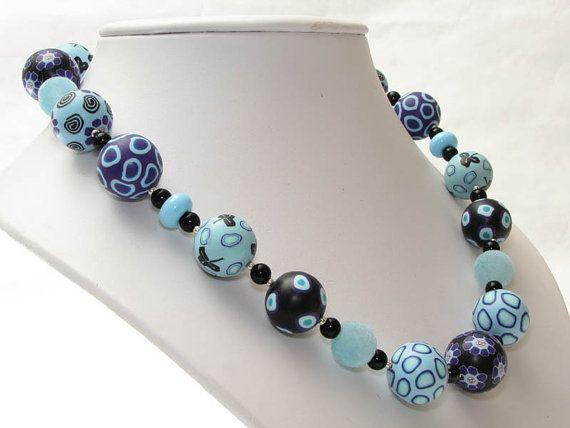 Azuro  necklace, fimo, beads, fimoperlen, millefiori, ceramica,    handgefertigte Polymer Clay Lampwork  von polymerdesign