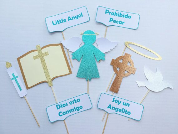 Photo Booth Props for Catholic Baptism, Boy-Girl | Blue, Pink, Teal | Angel | Cross | Bible | Dove | Candle | Halo | Thought Bubble Phrases